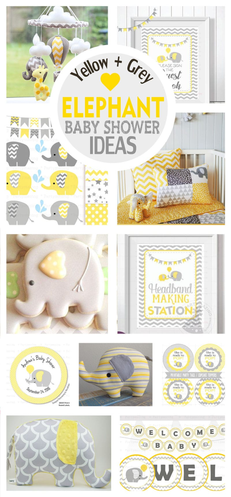Elephant Chevron Yellow And Grey Baby Shower Ideas Printable