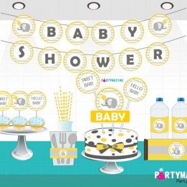 Elephant Chevron Yellow and Grey Baby Shower Collection