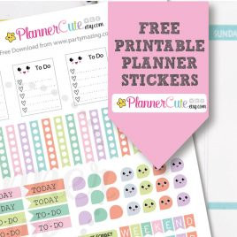 Printable Kawaii Planner Stickers W014
