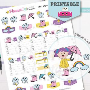 Kawaii Rainy Day Printable Planner Stickers K002
