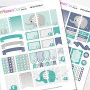 Elephant Planner Stickers,  Kawaii Printable Planner Stickers, Cute Printable Stickers for your planner, Erin Condren K015