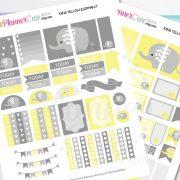 Elephant Planner Stickers, Yellow Elephant, Kawaii Printable Planner Stickers, Cute Printable Stickers for your planner, Erin Condren K016