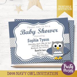 Baby Shower Invitation, Printable Owl Navy Blue and Grey Owl Invitation, It's a Boy Baby Shower invitations  D098