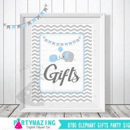 Gift Table Sign, Baby Blue and Grey Elephant Baby Shower Favor Sign, Chevron, DIY Printable, INSTANT Download D780
