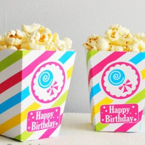 Candyland  Popcorn Box, Printable Candyland Party,DIY Candy Shoppe Party Popcorn Box Printable E499