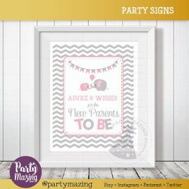 Advice and Wishes Sign, Elephant Baby Shower Favor Chevron Sign, wishes for the new parents to be, DIY Printable, INSTANT Download D829
