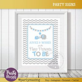 Advice and Wishes Sign, Elephant Baby Shower Favor Chevron Sign, wishes for the new parents to be, DIY Printable, INSTANT Download D830