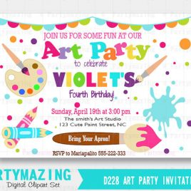Art Invitation. Art Class Party Printable Invitation, Painting Invitation, Art theme,  artist invite, Paint and Art supplies Invitation D228