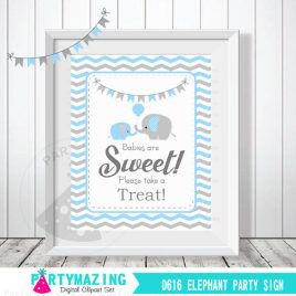 Babies Are Sweet Please Take A Treat Sign, Baby Blue and Grey Elephant Baby Shower Favor Sign, Chevron, DIY Printable, INSTANT Download D617