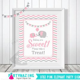 Babies Are Sweet Please Take A Treat Sign, Pink and Grey Elephant Baby Shower Favor Sign, Chevron, DIY Printable, INSTANT Download D763