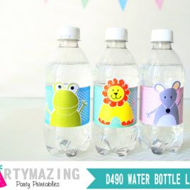 Baby Animal Water Bottle Labels, Printable Baby Labels, Instant download, Lion, Frog and Mice D490