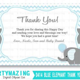 Baby Shower Thank You Cards, Printable Elephant Thank You Note, Personalized Chevron Elephant Printable Thank You Cards  D414