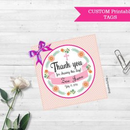 Baptism Thank You Tags,  Printable Thank You Christening Tags, Baptism Custom Stickers, Coral,  Baby Blessing, Birth, new baby  D653