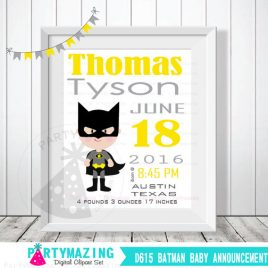 Batman Birth Announcement, Superhero Nursery Baby Announcement, Printable Wall Art  D615