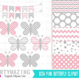 Butterfly Clip Art Set and Digital Paper Set, Baby Pink  and Gray -  D234