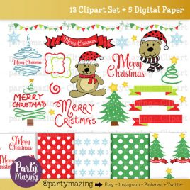 Christmas ClipArt, Merry Christmas, Christmas Bear, Christmas Tree, Christmas Ornament, COMMERCIAL USE, Kawaii Clipart D779