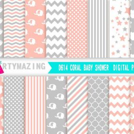 Coral and Grey Digital Paper, Baby shower Elephant, Chevron Polka Dot Digital Paper Scrapbook Background D614