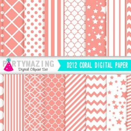 Coral Digital Paper Pack, Chevron Polka Dot Stripe Digital Paper Scrapbook Background, Basic Digital Paper Pack D212