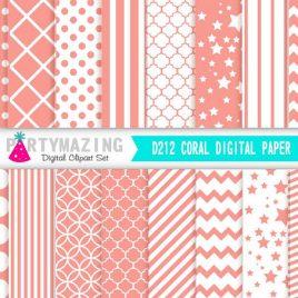 Coral Digital Paper Pack, Chevron Polka Dot Stripe Digital Paper Scrapbook Background, Basic Digital Paper Pack D212