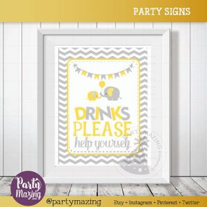 Drinks please help yourself Sign, Elephant Drinks Baby Shower Favor Sign, Yellow and Grey Chevron, DIY Printable, INSTANT Download D837