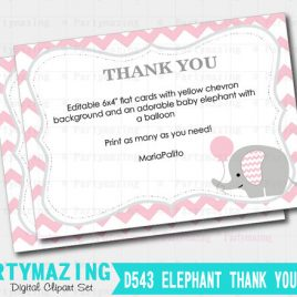 Editable Chevron Thank You Notes, Printable Baby shower Cards, Printable Note Cards, Pink Elephant Baby Shower Collection D543