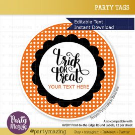 Editable Printable Halloween Labels, Personalized Diy Tags, Happy Halloween Tags, Stickers, Gift Tags, Cupcake Toppers, D770