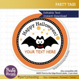 Editable Printable Halloween  Tags, Diy Labels, Happy Halloween Tags, Stickers, Gift Tags, Cupcake Toppers, D123