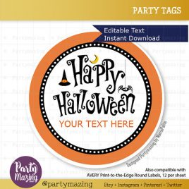 Editable  Printable Halloween  Tags, Personalized Diy Labels, Happy Halloween Tags, Stickers, Gift Tags, Cupcake Toppers, D768