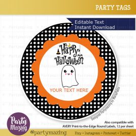 Editable Printable Happy Halloween  Tags, Personalized Diy Labels, Happy Halloween Tags, Stickers, Gift Tags, Cupcake Toppers, D771