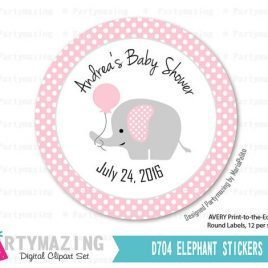 Elephant Baby Shower Stickers , Printable PERSONALIZED Party Stickers, Gift Tags, Cupcake Toppers, Avery Paper Template Option D704