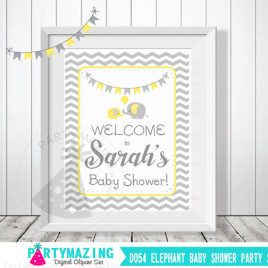 Elephant Baby Shower Welcome Sign, Personalized Baby Shower Sign, DIY Yellow and Grey Chevron Elephant Baby Shower, Printable Sign, D054