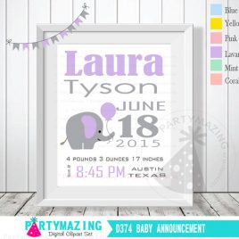 Elephant Birth Announcement, Lavender Nursery Baby Announcement, Printable Wall Art  D374