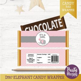 Elephant Candy Wrappers, Baby Shower, Chocolate Bar Wrappers, Instant download, Elephant Baby Shower Collection  D587