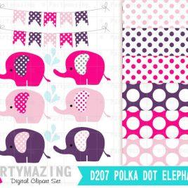Elephant Clip Arts , Polka dot Elephant Clip Art Set and Digital Paper Set,  D207