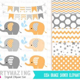 Elephant Clipart, Cute Chevron Elephant Sprinkle Water, Animals Nursery, Clipart with Digital Paper Pack, Baby Orange and Gray D354