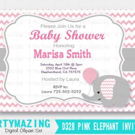 Elephant Printable Invitation, Elephant Baby Shower Invitation Pink Chevron and Grey, Baby Pink Elephant Baby Shower Collection D328