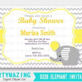 Elephant Printable Invitation, Elephant Baby Shower Invitation Yellow Chevron and Grey, Yellow Elephant Baby Shower Collection D326