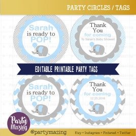 Elephant Shower Tag, Editable Printable She is ready to pop Tag, Baby Blue Elephant, Cupcake toppers, stickers, Party Circle Tags  D719