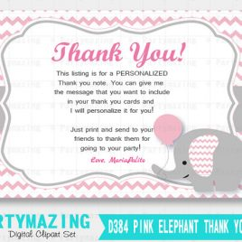 Elephant Thank You Note, Pink Elephant Baby Thank you Cards, Personalized Chevron Elephant Printable Thank You Cards  D384