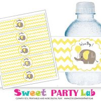 Elephant Water Bottle Labels, Printable Labels, It's a Boy, Yellow Elephant Baby Shower Collection D108