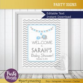 Elephant WELCOME Party sign, Printable Editable  Baby Shower Boy Blue, DIY Blue and Grey Chevron Elephant Baby Shower, Printable Sign D055