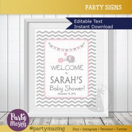 Elephant WELCOME Party sign, Printable Editable Girl Baby Shower,  DIY Pink and Grey Chevron Elephant Baby Shower, Printable Sign D086
