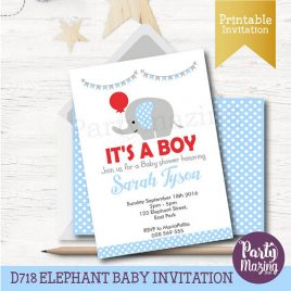Elephant with Red Balloon Shower Invitation,  PRINTABLE Baby Shower Invitation, It's a Boy Invitation D718