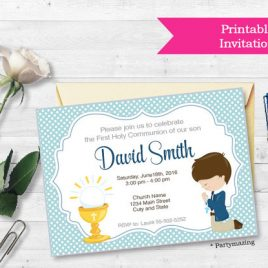 First Communion Invitation, Printable invitation, Boy's First Communion Invitations, Invitation D688