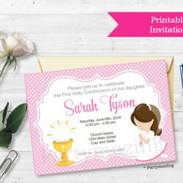 First Communion Invitation, Printable invitation, Girl's First Communion Invitations, Invitation D686