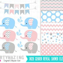 Gender Reveal Elephant Clipart, Pink and Blue Cute Chevron Elephant Sprinkle Water, Animals Nursery, Clipart with Digital Paper Pack, D626
