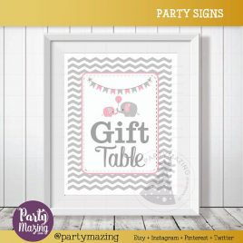 Gift Table Sign, Elephant Baby Shower Favor Sign, Pink and Grey Chevron, DIY Printable, INSTANT Download D828