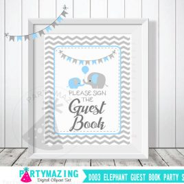 Guest Book Sign, Baby Blue and Grey Elephant Baby Shower Favor Sign, Chevron, DIY Printable, INSTANT Download D003