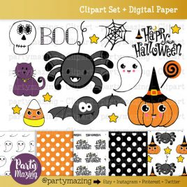 Halloween ClipArt Set, Cute Halloween Clipart Set, Spider, Ghost, Candycane, Cat and more, Digital Clip Art Graphics INSTANT Download D772