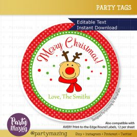 Last Minute Printable Christmas Labels, Editable Reindeer Gift Sticker Tags, Merry Christmas Tags, Stickers, Gift Tags, Cupcake Toppers D795